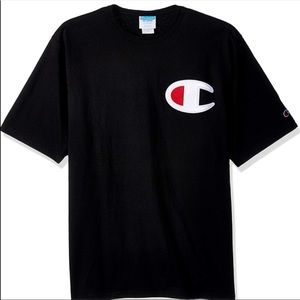 Black champion shirt with logo